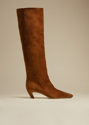 KHAITE The Knee-High Boot in Caramel Suede
