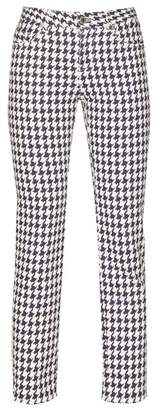 Alexander McQueen Cropped Houndstooth Denim Trousers - Womens - White Multi