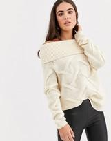 Vila off shoulder cable knit sweater