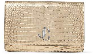Jimmy Choo PALACE Metallic Light-Gold Croc-Embossed Leather Chain Wallet with JC Emblem