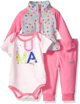 Puma Girls' Baby 3 Piece Jacket, Bodysuit, and Pant Set