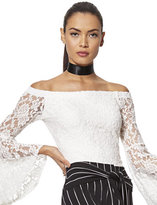 New York & Co. 7th Avenue Design Studio - Lace Off-The-Shoulder Bell-Sleeve Blouse