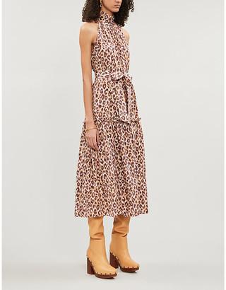 Zimmermann Caramel Brown Super Eight Sleeveless Silk-Crepe Midi Dress, Size: XXS
