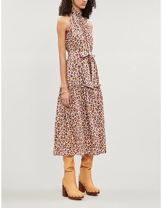 Zimmermann Super Eight leopard-print sleeveless silk-crepe midi dress