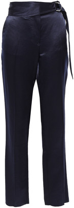 Victoria Beckham Belted Satin-crepe Straight-leg Pants