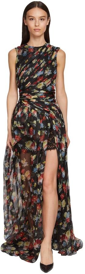 Ermanno Scervino Flower Print Organza & Lace Dress