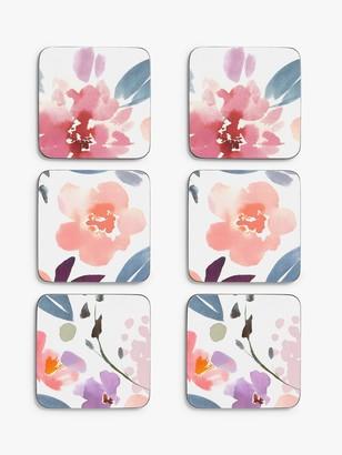John Lewis & Partners Cork-Backed Floral Coasters, Set of 6, Multi