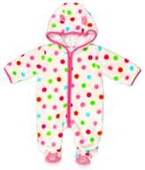Absorba Fuzzy Polka Dot Bear Footie in Pink