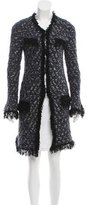 Maje Fringe Trimmed Metallic Accented Cardigan