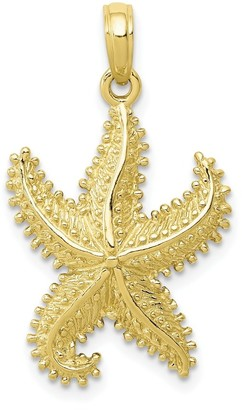 10K Yellow Gold Polished Open Backed Starfish Pendant with 18-inch Cable Rope Chain by Versil