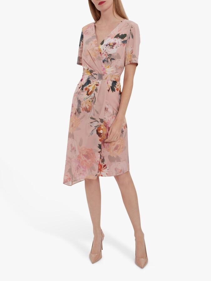 Thumbnail for your product : Gina Bacconi Halina Floral Print Warp Midi Dress, Rose Pink
