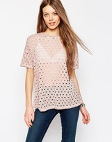 Asos T-Shirt In Washed Laddered Fabric