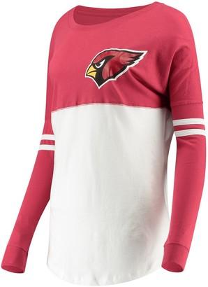 New Era Women's 5th & Ocean by Cardinal/White Arizona Cardinals Team Logo Athletic Varsity Long Sleeve T-Shirt