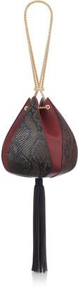 THE VOLON Cindy Snake-embossed Leather-tassel Bag