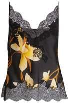 Carine Gilson Orchid-print silk-satin cami top