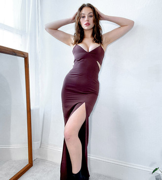 Vesper Tall cami strap maxi dress with cutout detail in chocolate