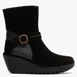 Fly London Yome Black Suede & Leather Wedge Ankle Boots