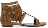 Saint Laurent Studded Fringed Suede Sandals - Tan