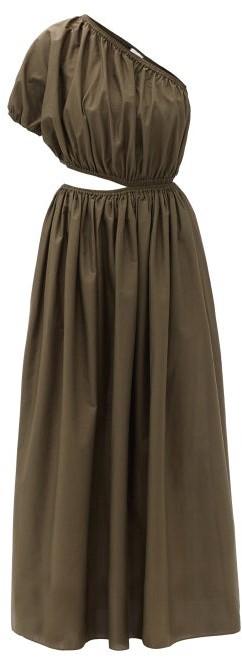 Matteau The One Shoulder Cutout Cotton-poplin Dress - Dark Green