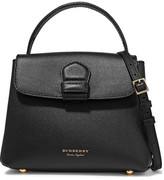 Burberry Textured-leather And Checked Canvas Shoulder Bag - Black