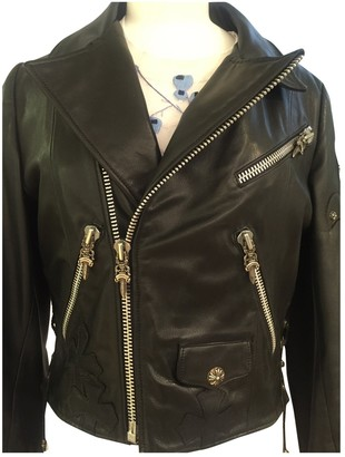 Chrome Hearts Black Leather Leather Jacket for Women Vintage