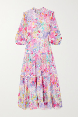 Rixo Monet Ruffled Tiered Floral-print Cotton And Silk-blend Midi Dress - Pink