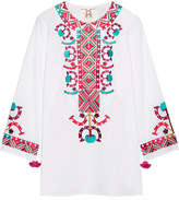 Figue Lisbette Embroidered Cotton-poplin Blouse - White