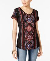 Style&Co. Style & Co Style & Co Petite Printed Shirttail-Hem Top, Created for Macy's