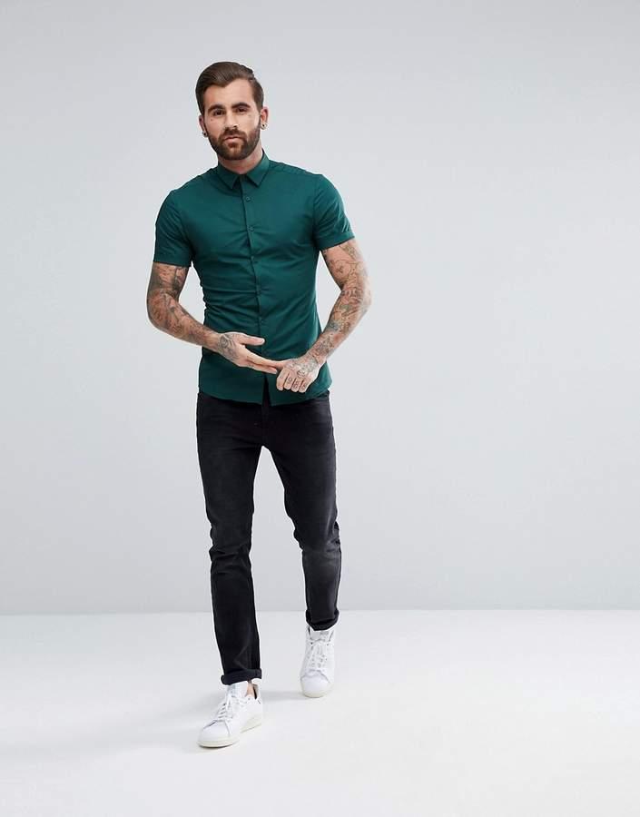 Asos Skinny Shirt In Teal