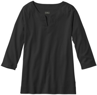 L.L. Bean Women's Pima Cotton Tunic, Three-Quarter-Sleeve Splitneck