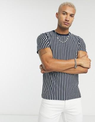 Topman t-shirt in horizontal white & navy stripe