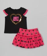 Juicy Couture Black & Pink Cap-Sleeve Tee & Skirt - Infant & Toddler