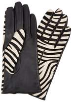 Dents Printed Calf Hair And Leather Gloves