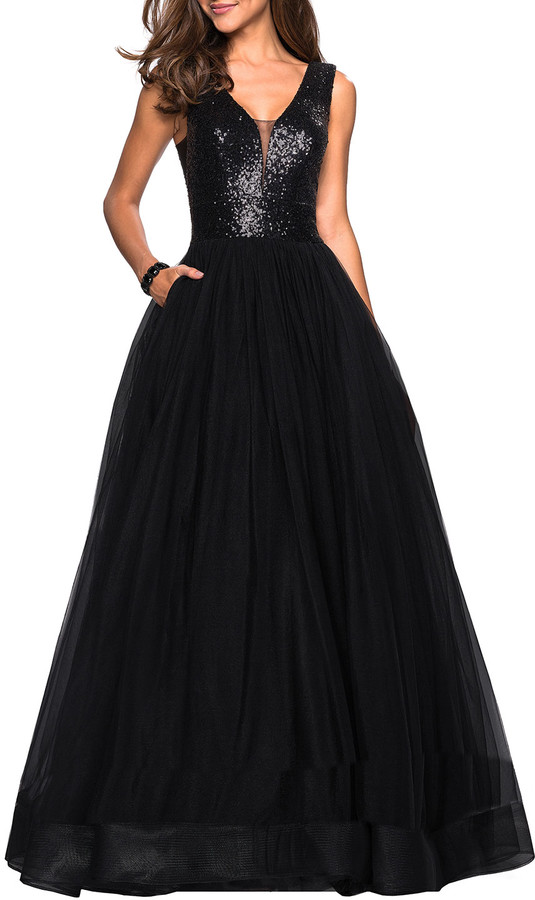 La Femme Sequin-Bodice V-Neck Sleeveless Tulle Ball Gown with Pockets