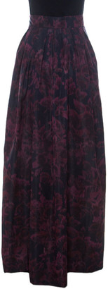 Max Mara Burgundy Printed Silk Pleated Maxi Skirt M