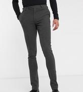 Asos Design DESIGN Tall wedding super skinny suit trousers in wool mix herringbone in charcoal