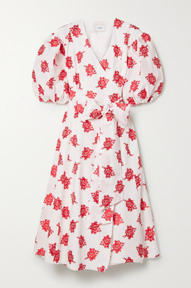Erdem Marguerite Floral-print Fil Coupe Poplin Wrap-effect Midi Dress - White