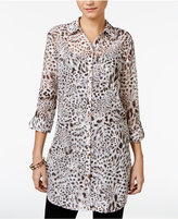 JM Collection Petite Textured Animal-Print Blouse, Only at Macy's