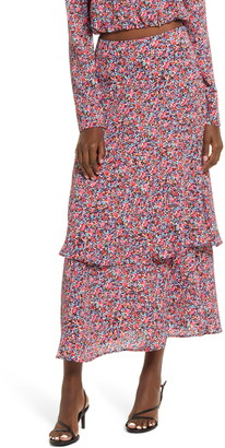 AFRM Serene Floral Tiered Maxi Skirt