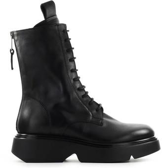 Elena Iachi Black Leather Combat Boot