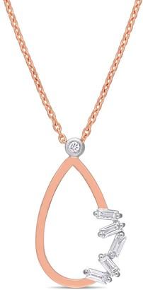 Miadora 2-Tone 14k Rose and White Gold 1/7ct TDW Baguette-Cut Diamond Teardrop Loop Necklace