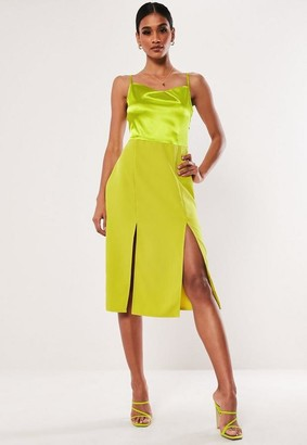 Missguided Lime Satin Cami Midi Dress