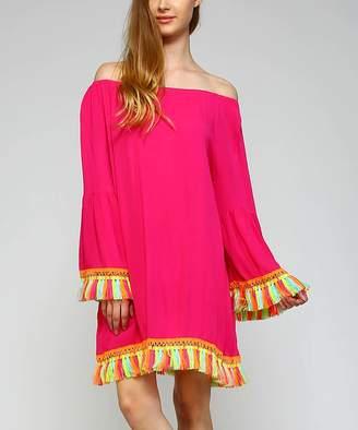 Simply Boho La Simply Boho LA Women's Casual Dresses FUSCHIA - Fuchsia & Orange Tassel-Trim Off-Shoulder Dress - Women