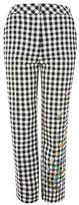 Topshop Embroidered Gingham Trousers