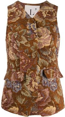 L'Autre Chose Damascato floral-pattern waistcoat