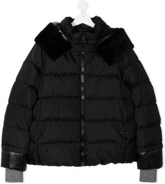 Herno TEEN faux fur-trimmed puffer jacket