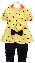DETALLAN New Baby Sets Heart-shaped Print Bow Cute 2PCS Kids Set T shirt + Pants