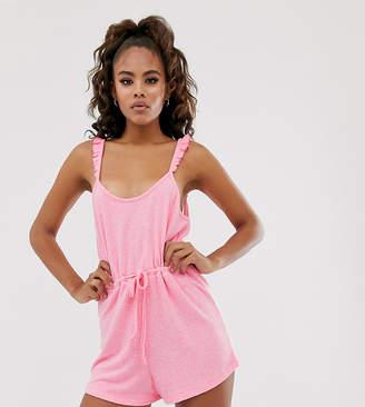 Asos Tall DESIGN Tall neon pink playsuit
