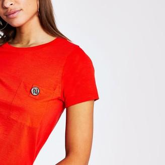 River Island Womens Red diamante button pocket t shirt