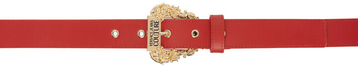 Versace Jeans Couture Red Leather Couture I Belt